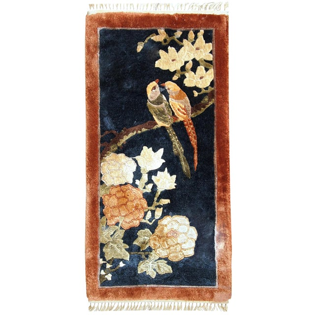1980s Handmade Vintage Silk Chinese Mat Rug - 1' x 2' - Image 1 of 9