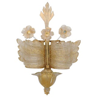 Barvoier et Toso Early Rare Murano Rugiada Glass Winged Wall Sconce