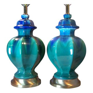 Mid-Century Green Drip Glaze Lamps - A Pair