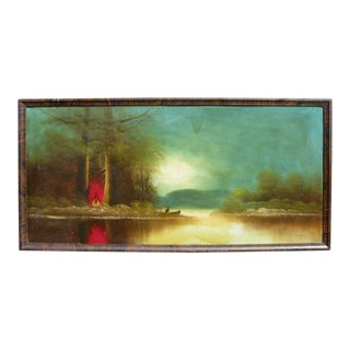 Primitive Oil Painting of a Campfire and Canoe c.1910
