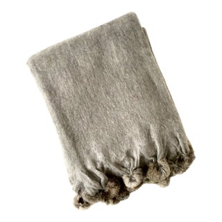 Gray Mohair Throw Blanket With Rabbit Fur Trim