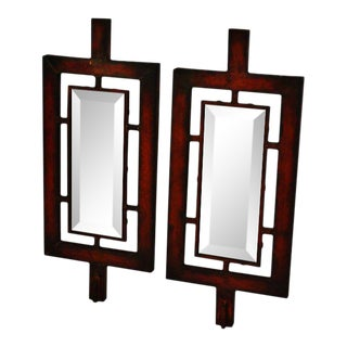 Asian Inspired Beveled Wall Mirrors- A Pair