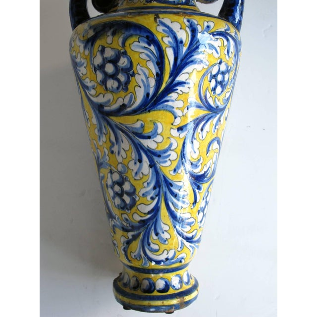 An Italian Tin-Glazed Earthenware Polychrome (majolica) double handled vase - Image 3 of 6