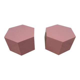 Laminated Pink Hexagon Tables - A Pair