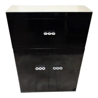 Jansen Mid-Century Modern Black Lacquer Bar Cabinet