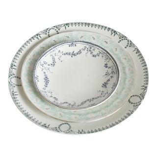 Vintage China Blue Floral Plates - Set of 3