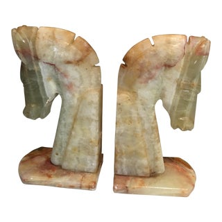 Alabaster Horse Bookends - a Pair