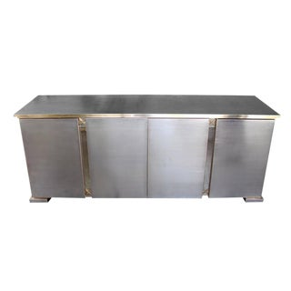 Good Quality Belgian Brushed Chrome & Brass Four-Door Sideboard by Belgo Chrome