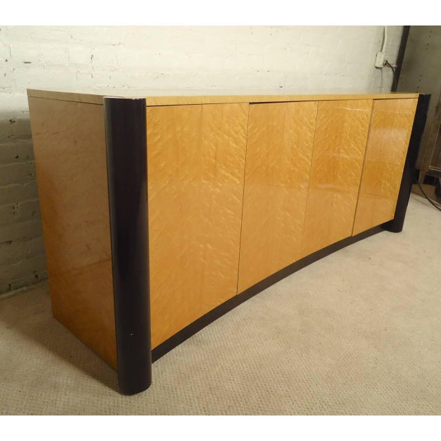Image of Curved Front Burl Wood Sideboard