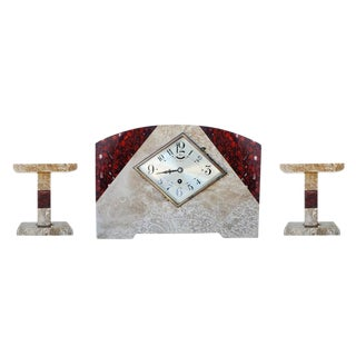 Pair of Italian Marble Art Deco Mantel Clock Set with Matching Garniture