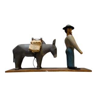 1940s Carved Wooden Prospector & Pack Mule