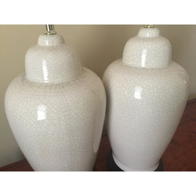 White Ceramic Crackle Glazed Lamps - a Pair - Image 6 of 11