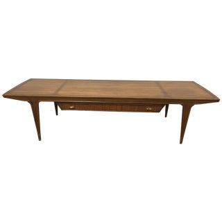 Mid-Century Sculpted Walnut & Cane Coffee Table