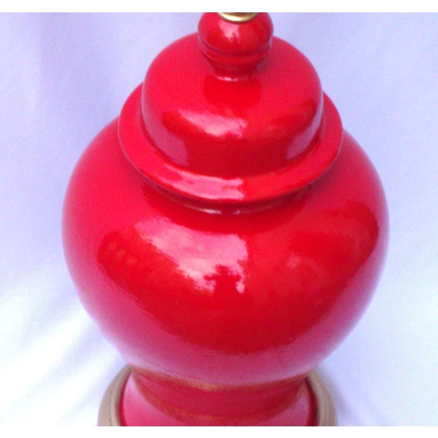 Hollywood Regency Red Lacquer Ceramic Lamp - Image 8 of 11
