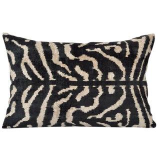 Zebra Silk Velvet Accent Pillow