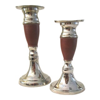 Stitched Leather Wrapped Candleholders - a Pair