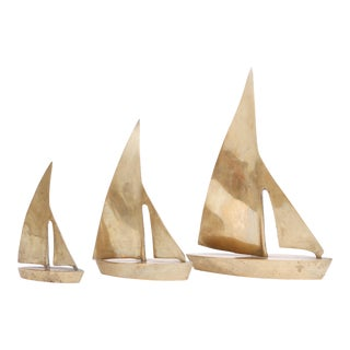Vintage Brass Sailboats - Set of 3
