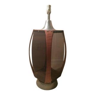 Danish Modern Teak & Smoked Acrylic Lamp