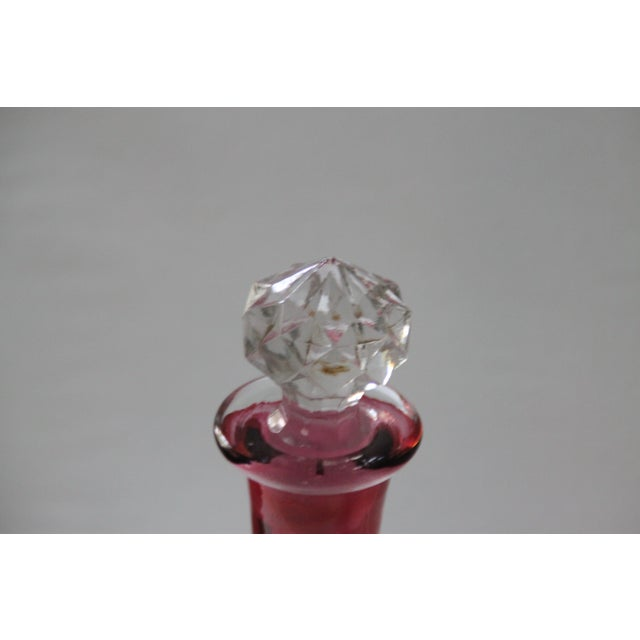 Image of Cranberry Etched Glass Decanter
