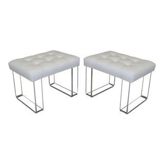 Infinity Style Oatmeal Linen Lucite Benches - A Pair