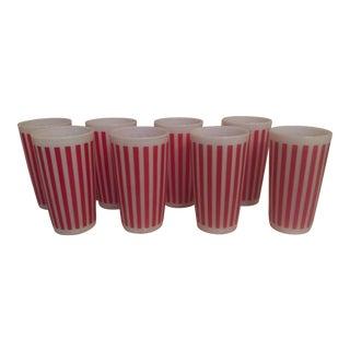 Hazel Atlas Red Candy Stripe Tumblers - Set of 8