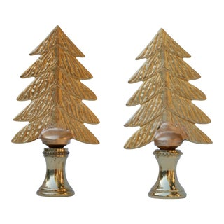 Brass Christmas Tree Finials - A Pair