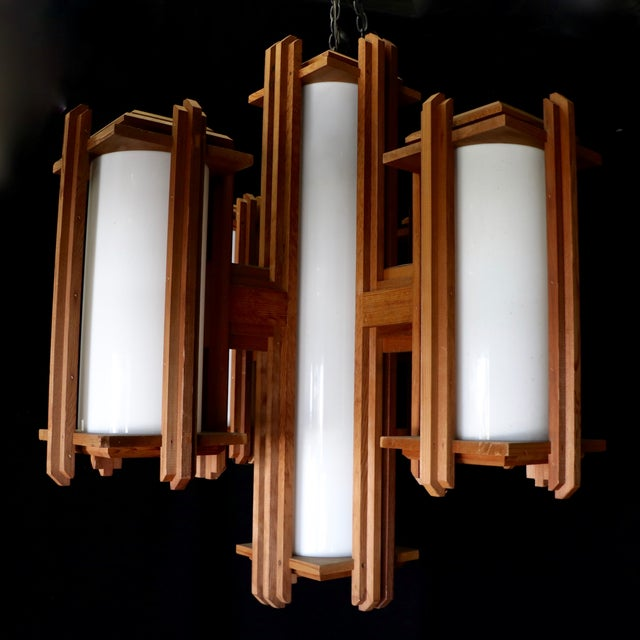 Frank lloyd wright style wooden chandelier chairish for Wright style