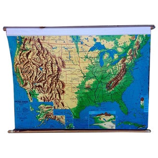 1960s Weber Costello Hanging United States Map