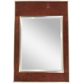 La Barge Suede Leather Mirror