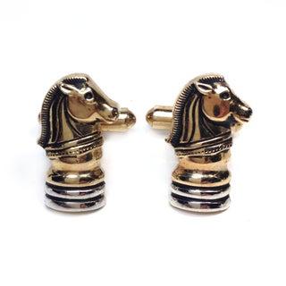 Gold Tone Chess Knight Cufflinks
