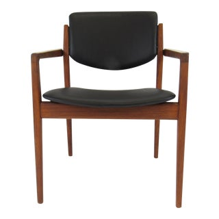 Leather & Wood Danish Modern Chair