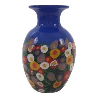 Murano Style Millefiori Glass Vase