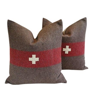 Large Swiss Wool Appliqué Cross Feather/Down Pillows - Pair