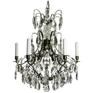 Baroque 6-Arm Ebony Almond Crystal Chandelier