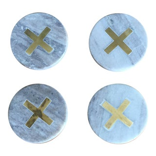 Inlaid Gold X Coasters - Set of 4