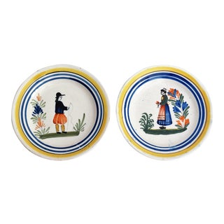 French Quimper Plates - A Pair