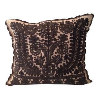 Beige and Dark Brown Emroidered Linen Pillow