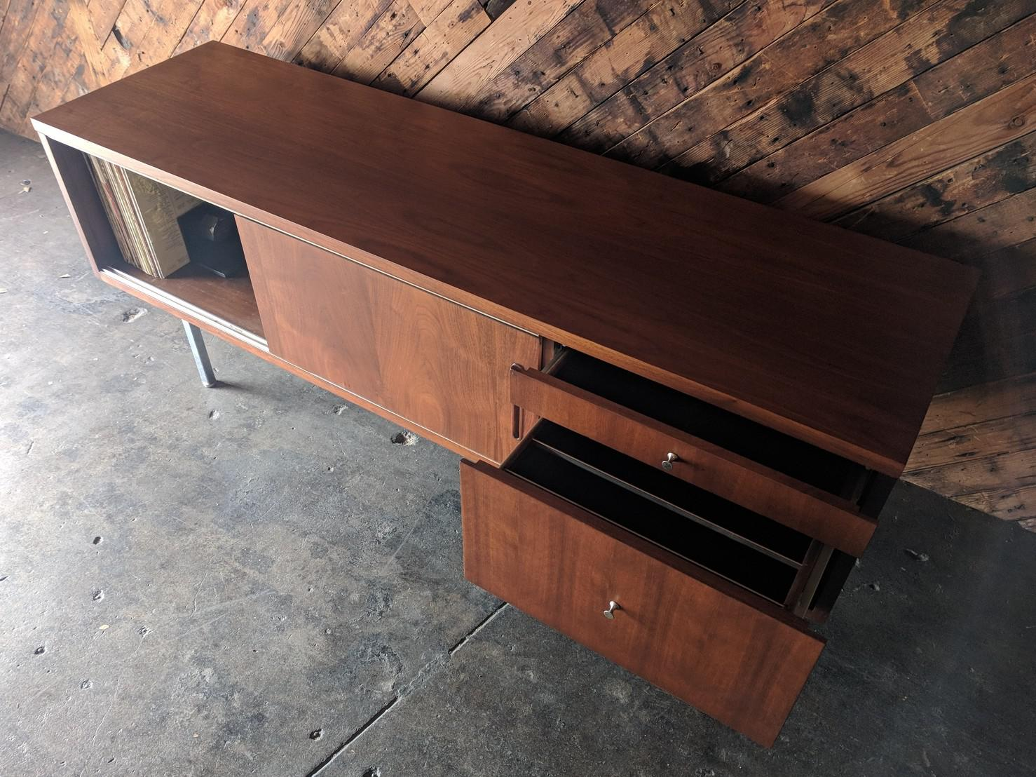 Large Refinished Walnut Office Credenza With File Drawer   Image 3 Of 11