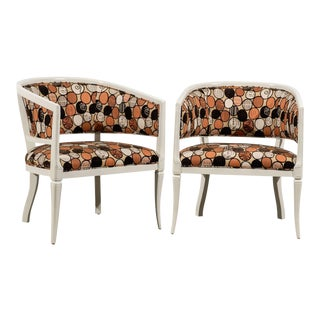 Vintage Pair Baker Style Barrel Back Armchairs in Cream Lacquer