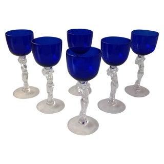 Cobalt Blue Statuesque Nude Stem Glasses -Set of 6