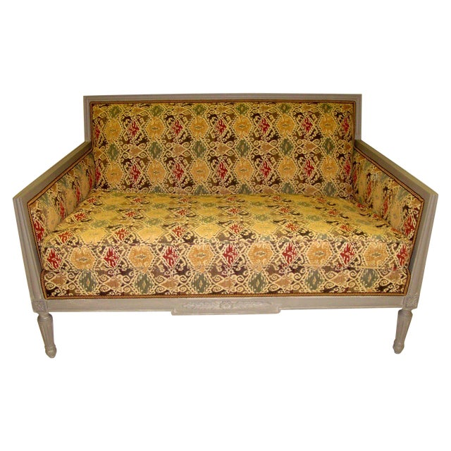 Louis XVI Style Painted Love Seat - Image 1 of 7