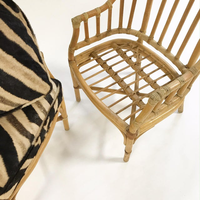 Forsyth Rattan Armchairs with Custom Zebra Hide Cushions - A Pair - Image 5 of 7