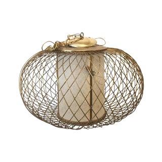 Vintage Caged Lantern Chandelier With Bronze Grasshoppers