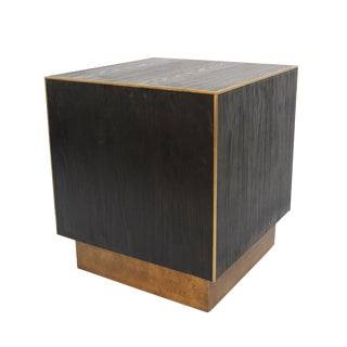 Cube Wood & Brass Side Table