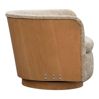 Super Cool Mid-Century Modern Swivel Tub Chair with Oak Surround
