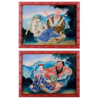 Chinese Louhan Reverse Glass Paintings - A Pair