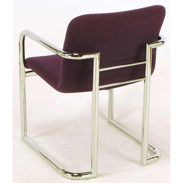 Pair Chrome & Violet Wool Sled Arm Chairs - Image 8 of 9