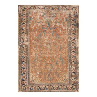 Apadana - 1890s Distressed Rust/Teal Persian Tabriz Rug, 3.05x5.02