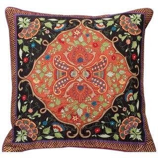 Luxury Silk Emroidered Accent Pillow