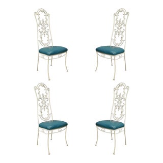 Vintage Hollywood Regency French Style Wrought Iron Patio Chairs - Set of 4